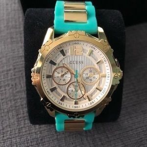 GUESS Teal silicone strap, gold-tone watch